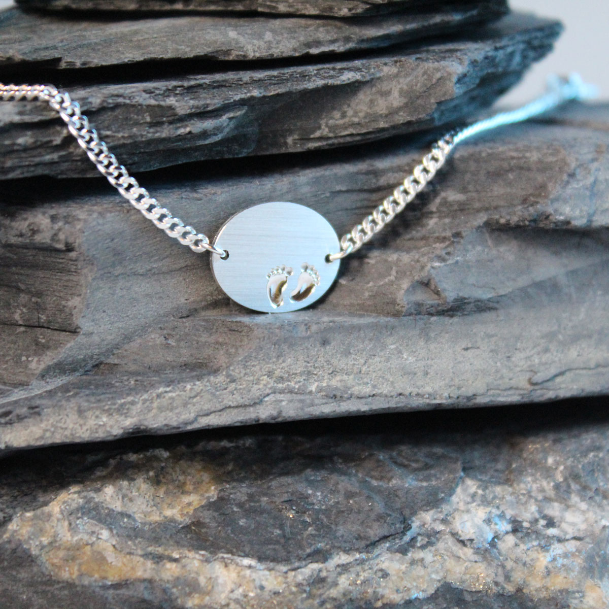 Armkettchen mit Gravurplatte Silber