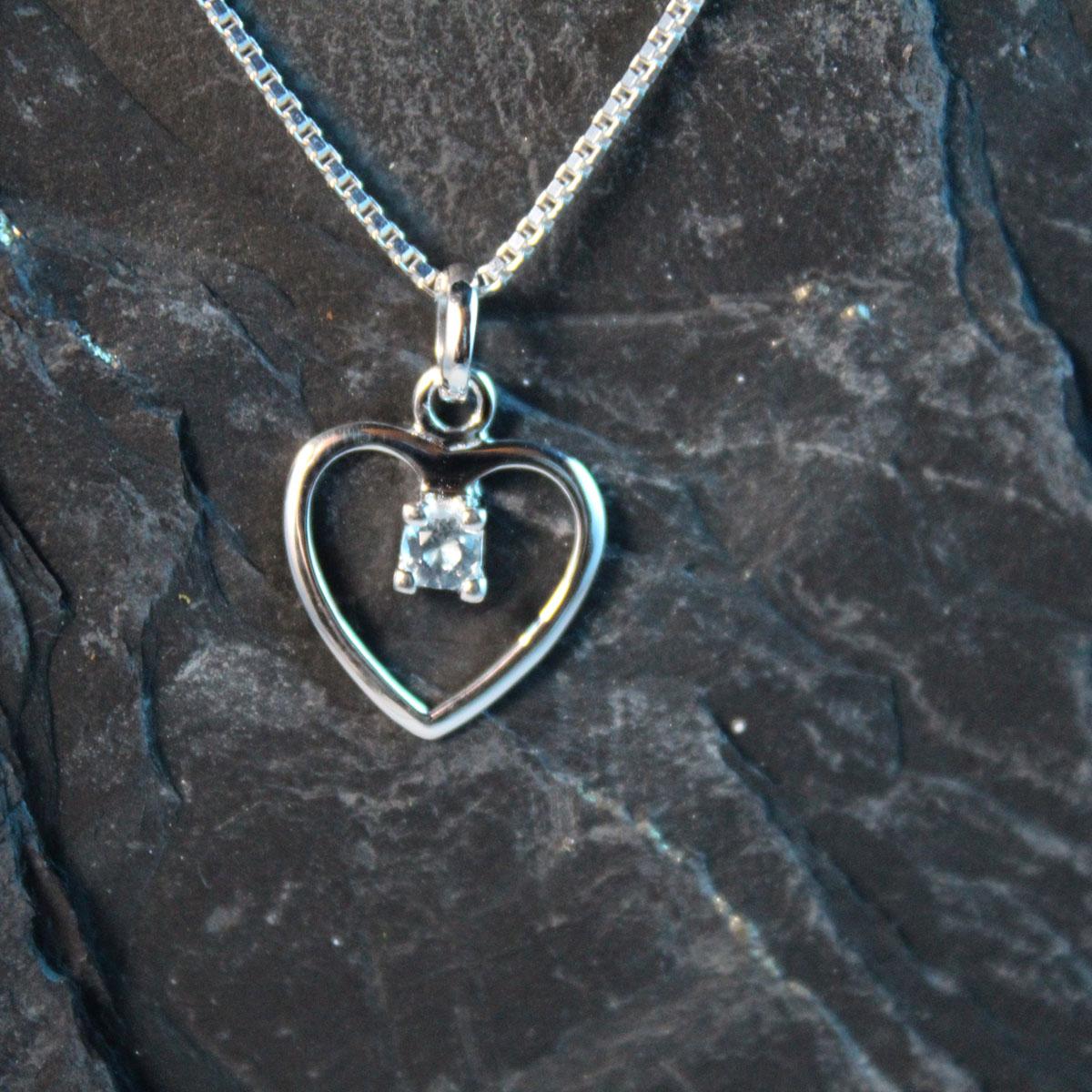 Schmuckextra Herz SIlber mit blauem Kristall