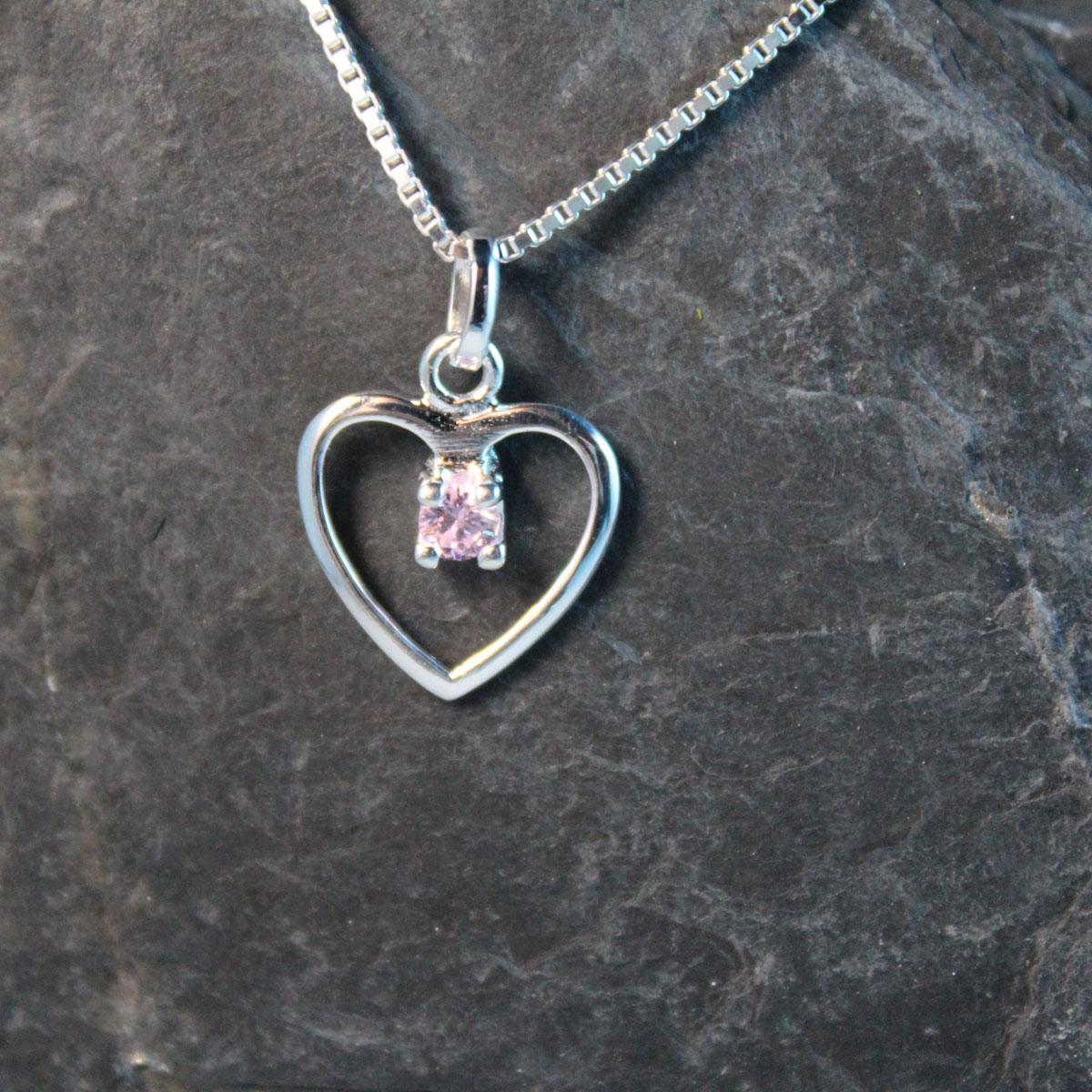 Schmuckextra Herz SIlber mit rosa Kristall