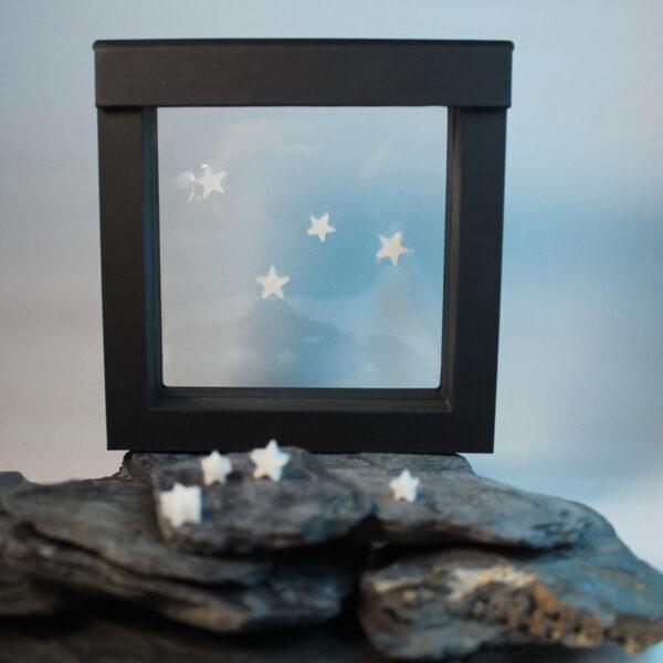 Muttermilchschmuck Sterne aus Muttermilch in Schweberahmen