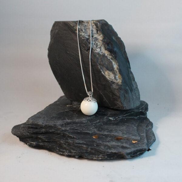 Muttermilchschmuck Perle mit Herzkappe silber